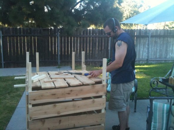 Building the compost bin.